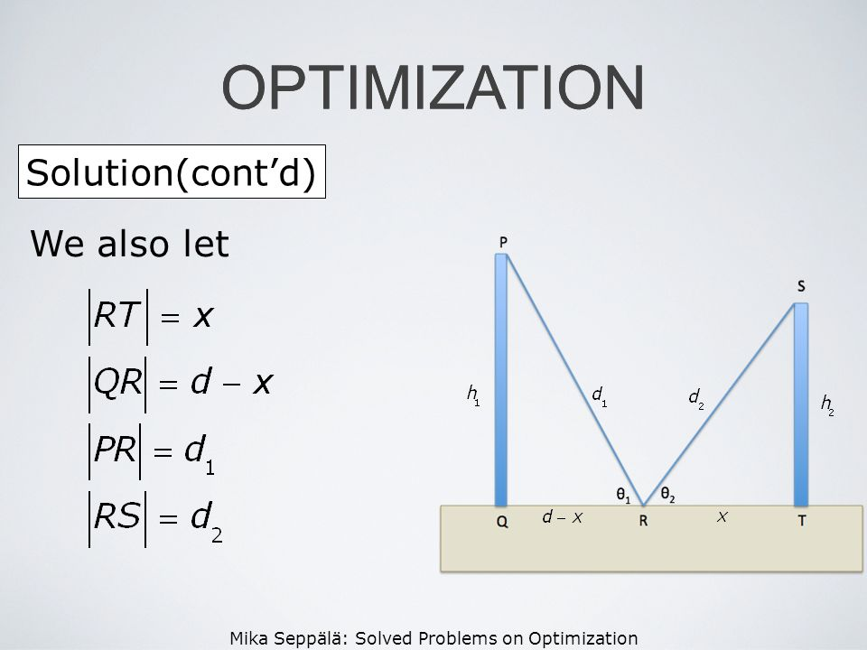OPTIMIZATION OPTIMIZATION Solution(cont'd) We also let