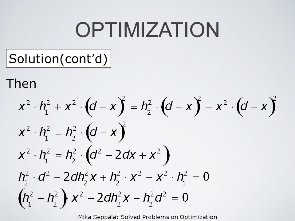 OPTIMIZATION OPTIMIZATION Solution(cont'd) Then