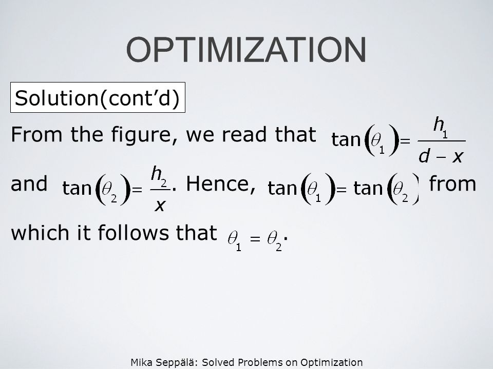OPTIMIZATION OPTIMIZATION Solution(cont'd)