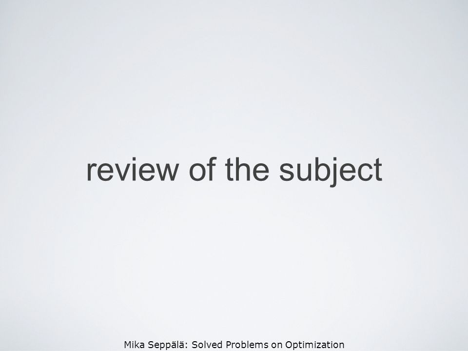 review of the subject