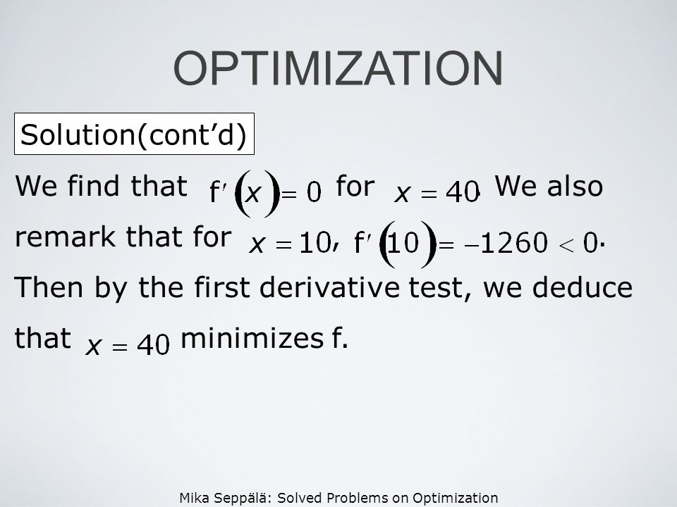 OPTIMIZATION Solution(cont'd)