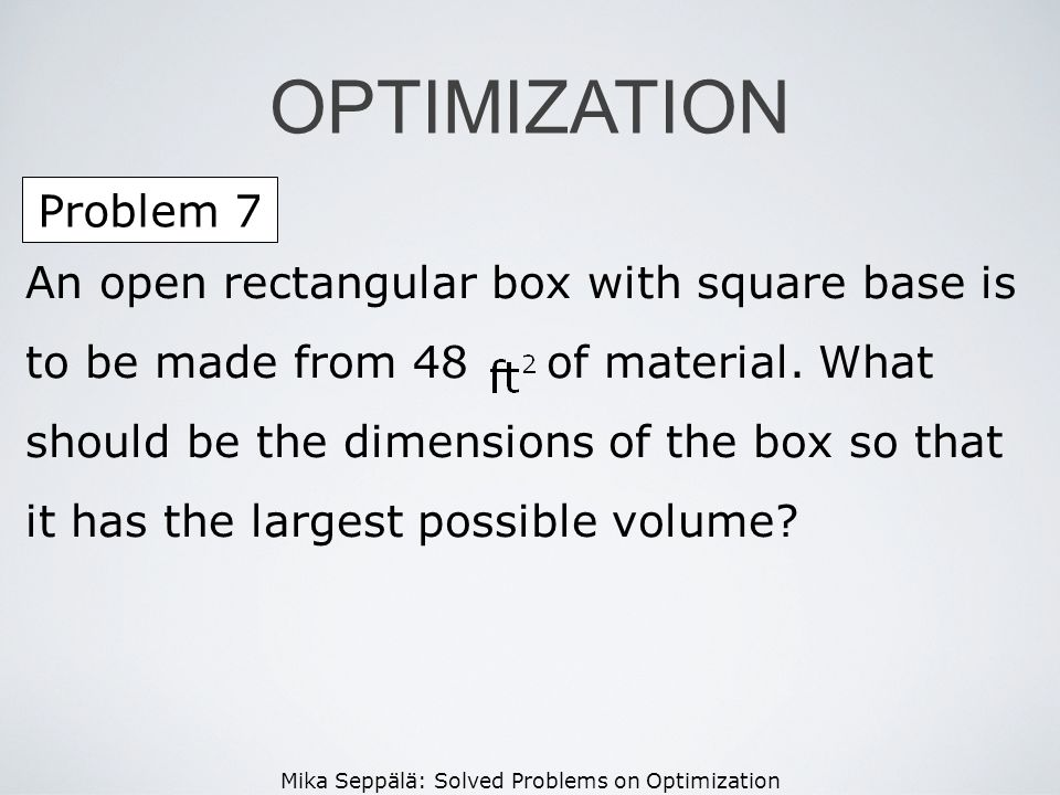 OPTIMIZATION Problem 7.