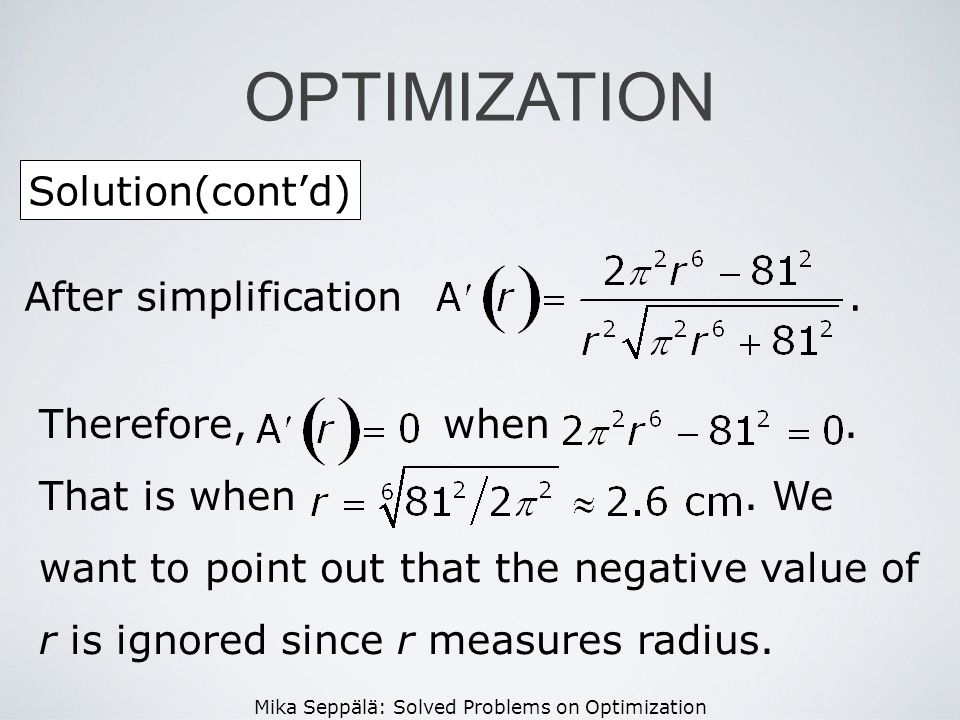 OPTIMIZATION Solution(cont'd) After simplification .
