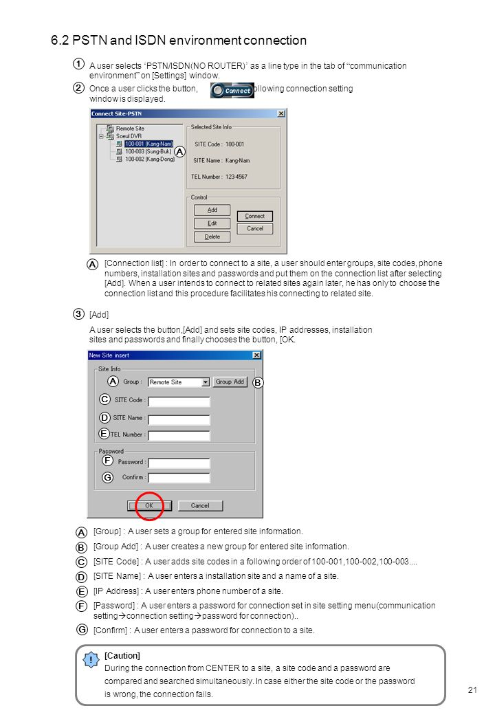 6.2 PSTN and ISDN environment connection