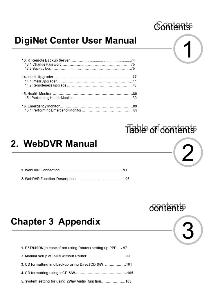 1 2 3 Contents DigiNet Center User Manual Table of contents
