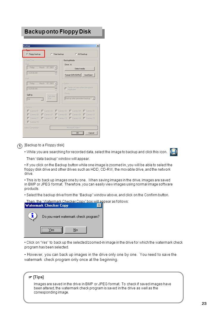 Backup onto Floppy Disk