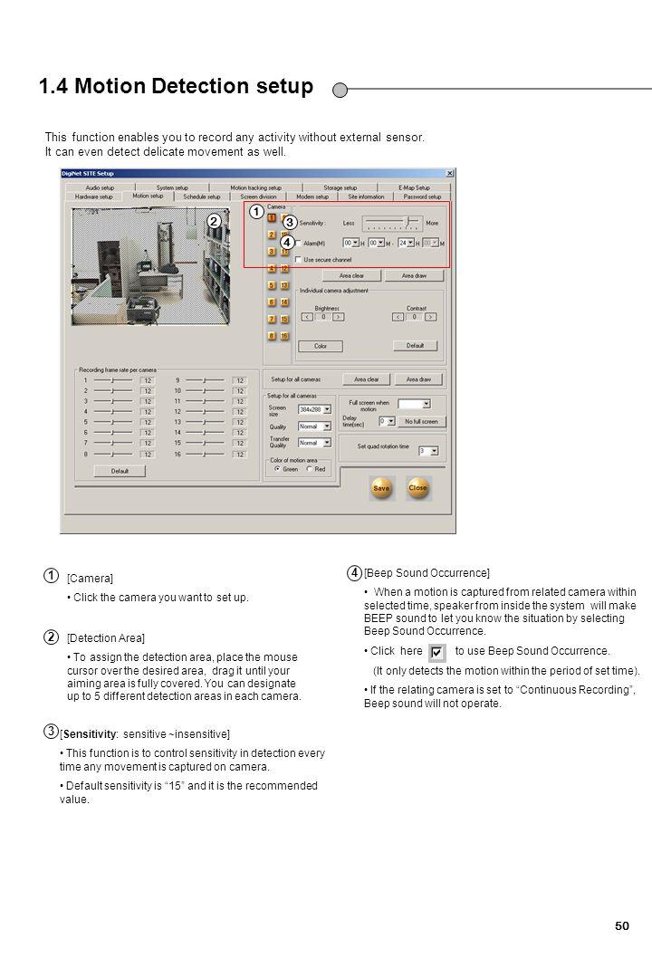 1.4 Motion Detection setup