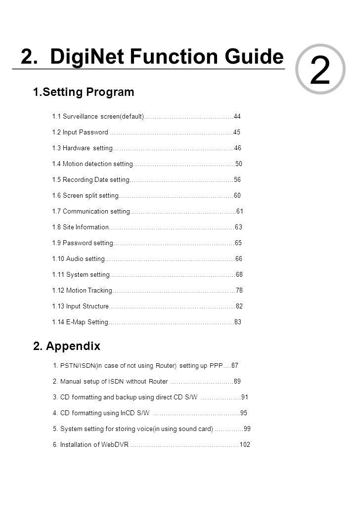2 2. DigiNet Function Guide 1.Setting Program 2. Appendix 추가 및 수정