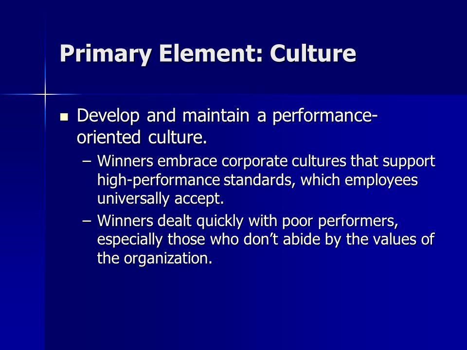 Primary Element: Culture