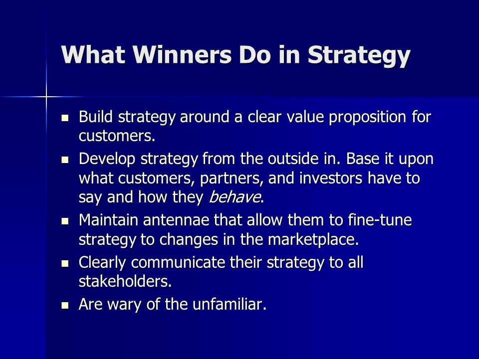 What Winners Do in Strategy