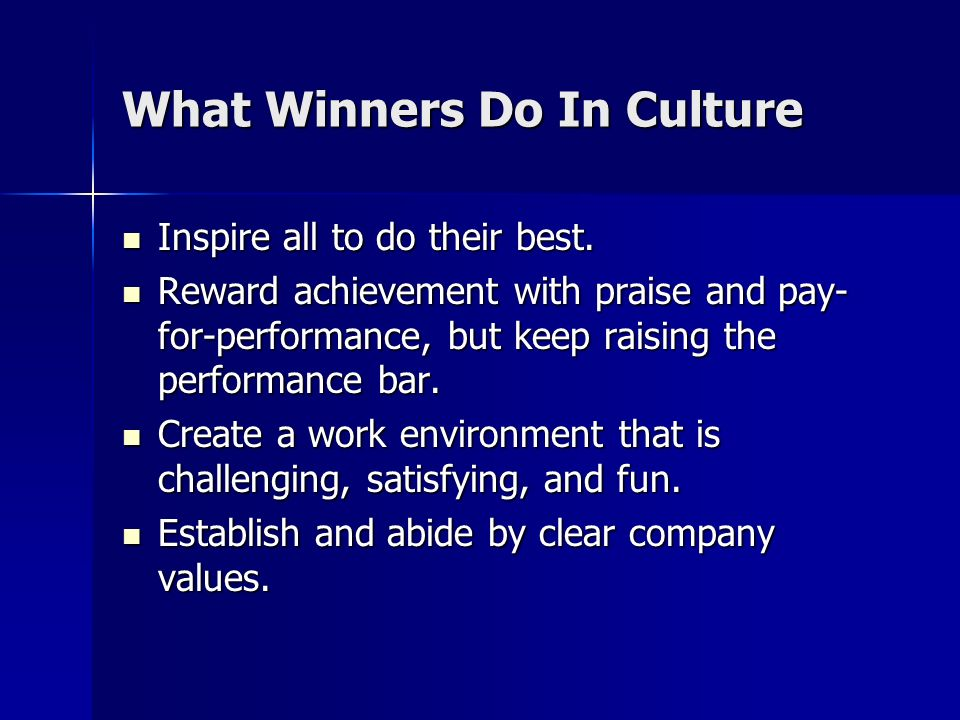 What Winners Do In Culture