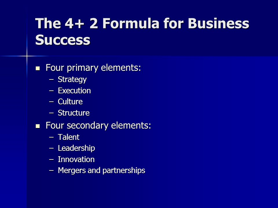 The 4+ 2 Formula for Business Success