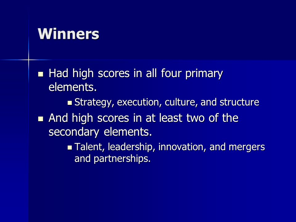 Winners Had high scores in all four primary elements.