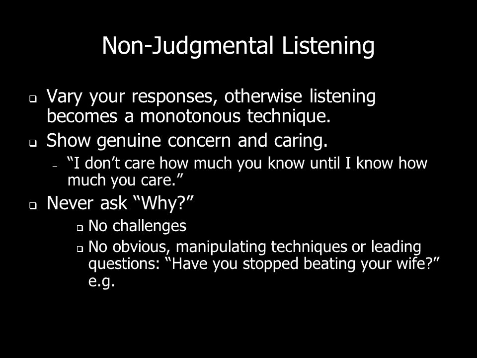 Non-Judgmental Listening