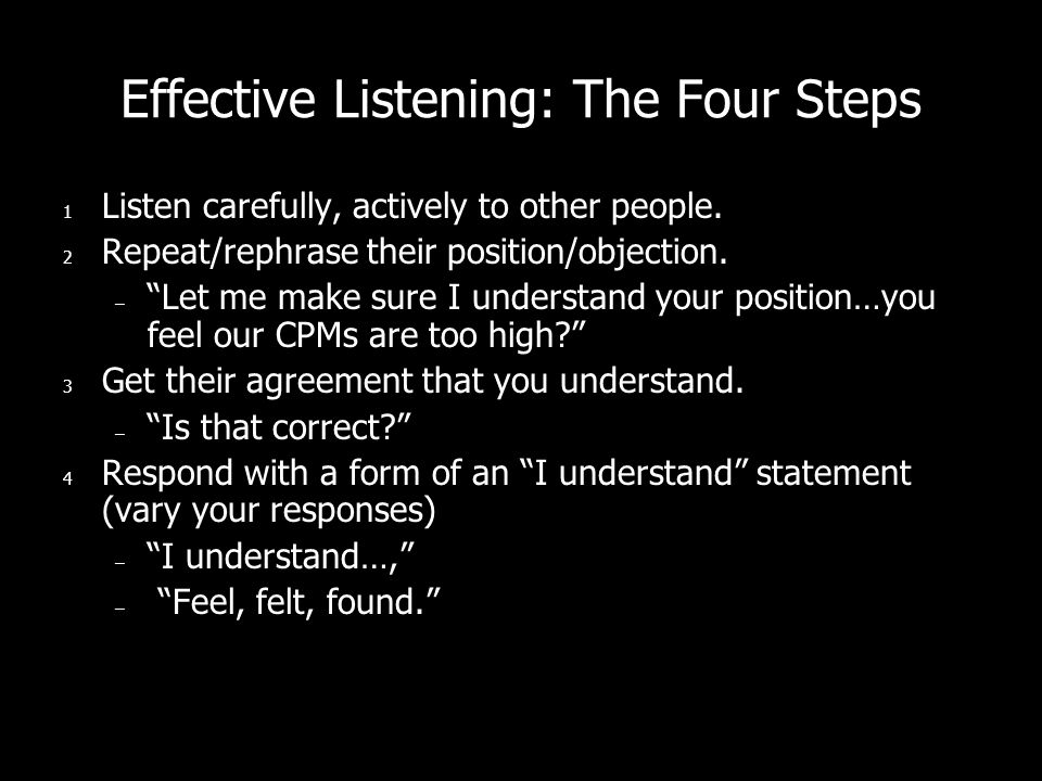 Effective Listening: The Four Steps