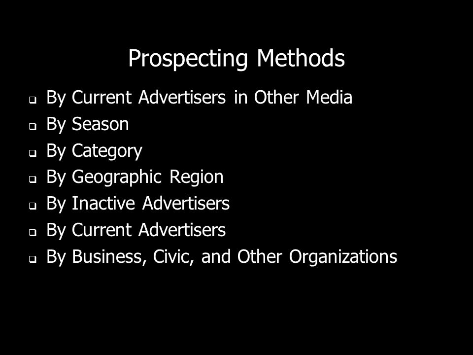 Prospecting Methods By Current Advertisers in Other Media By Season