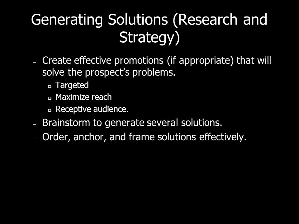 Generating Solutions (Research and Strategy)