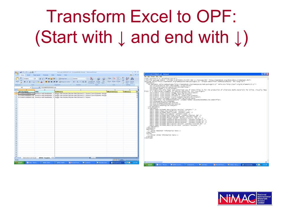 Transform Excel to OPF: (Start with ↓ and end with ↓)