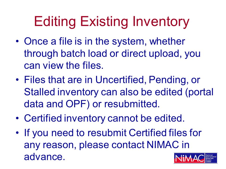 Editing Existing Inventory