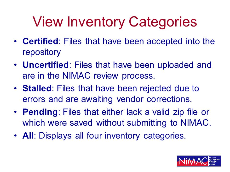 View Inventory Categories