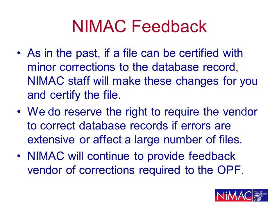 NIMAC Feedback