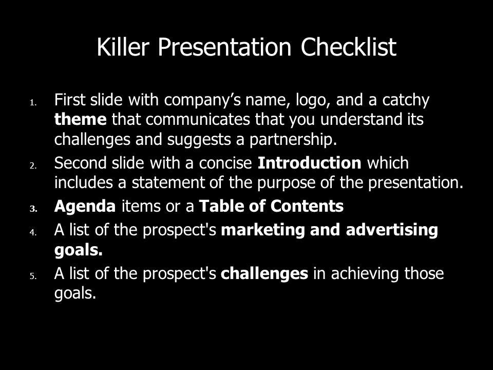 Killer Presentation Checklist