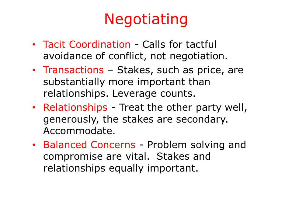 Negotiating Tacit Coordination - Calls for tactful avoidance of conflict, not negotiation.