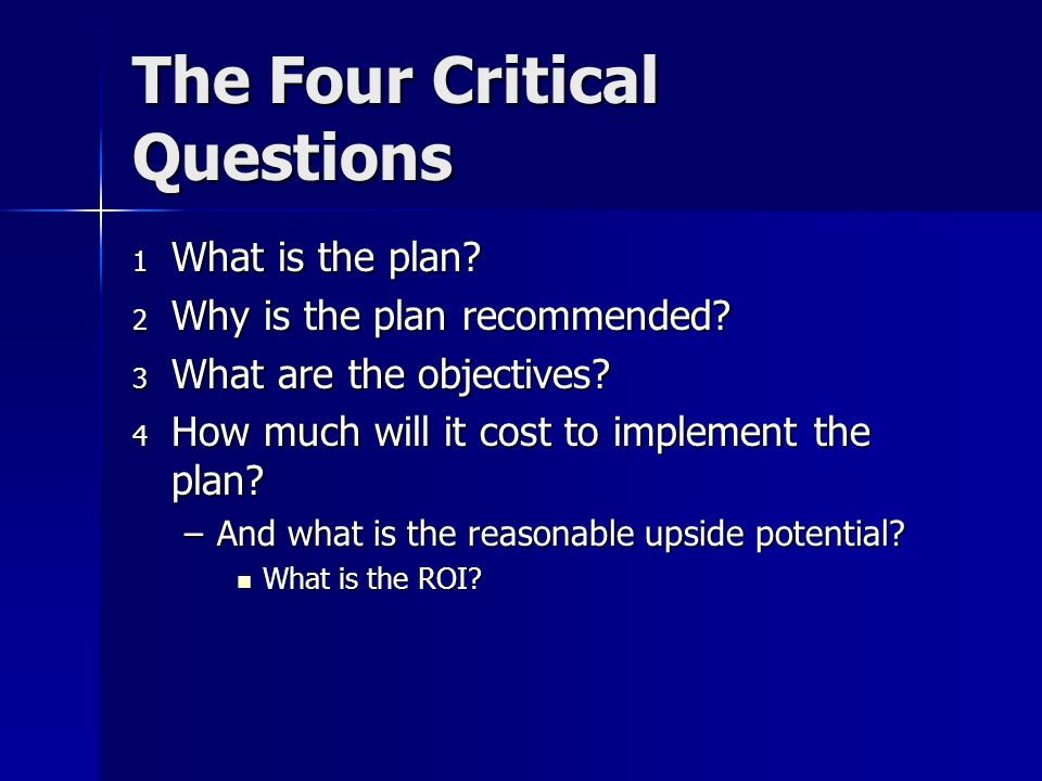 The Four Critical Questions