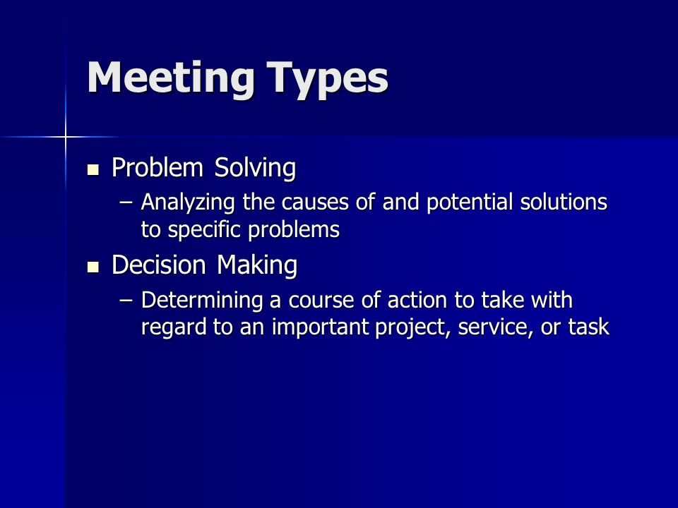 Meeting Types Problem Solving Decision Making