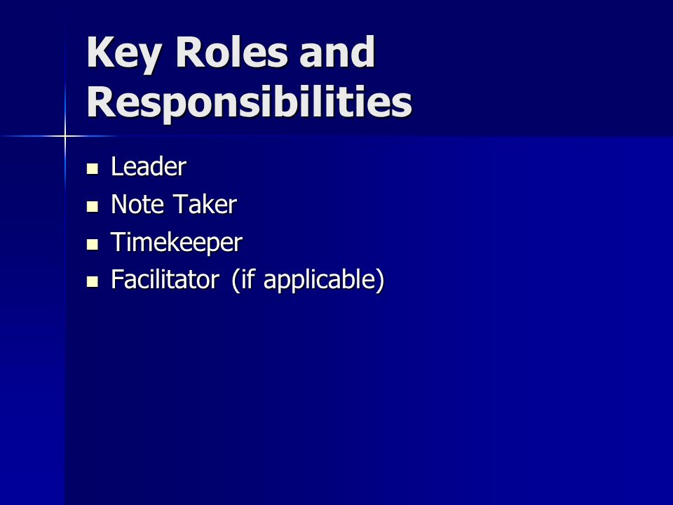Key Roles and Responsibilities