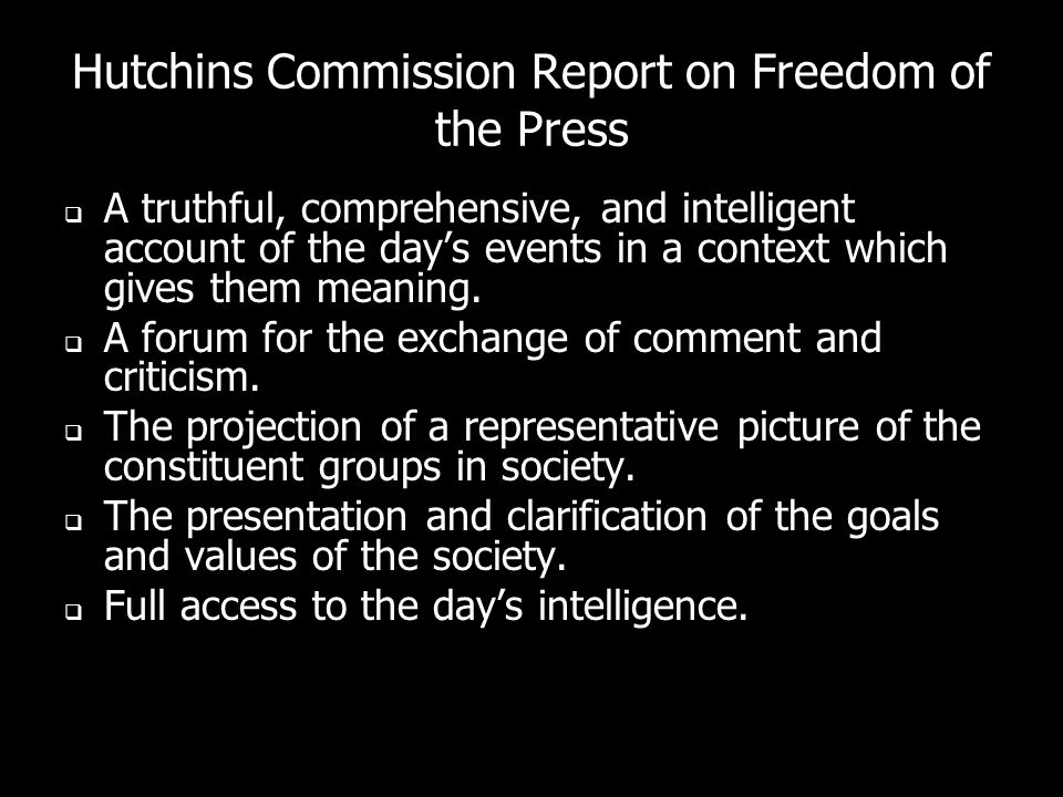 Hutchins Commission Report on Freedom of the Press