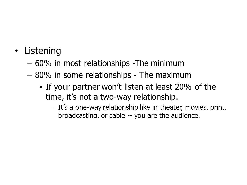 Listening 60% in most relationships -The minimum
