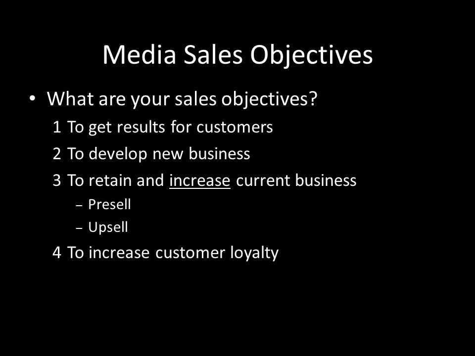 Media Sales Objectives