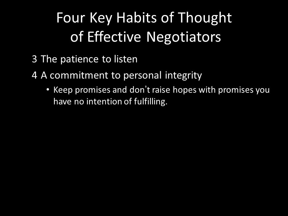 Four Key Habits of Thought of Effective Negotiators