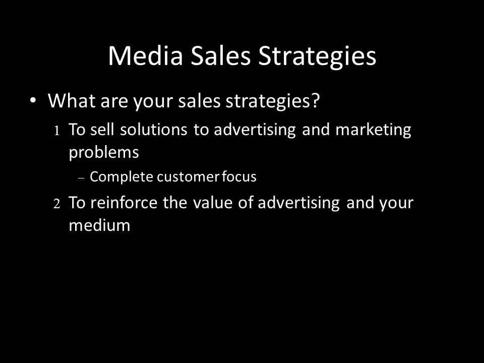 Media Sales Strategies