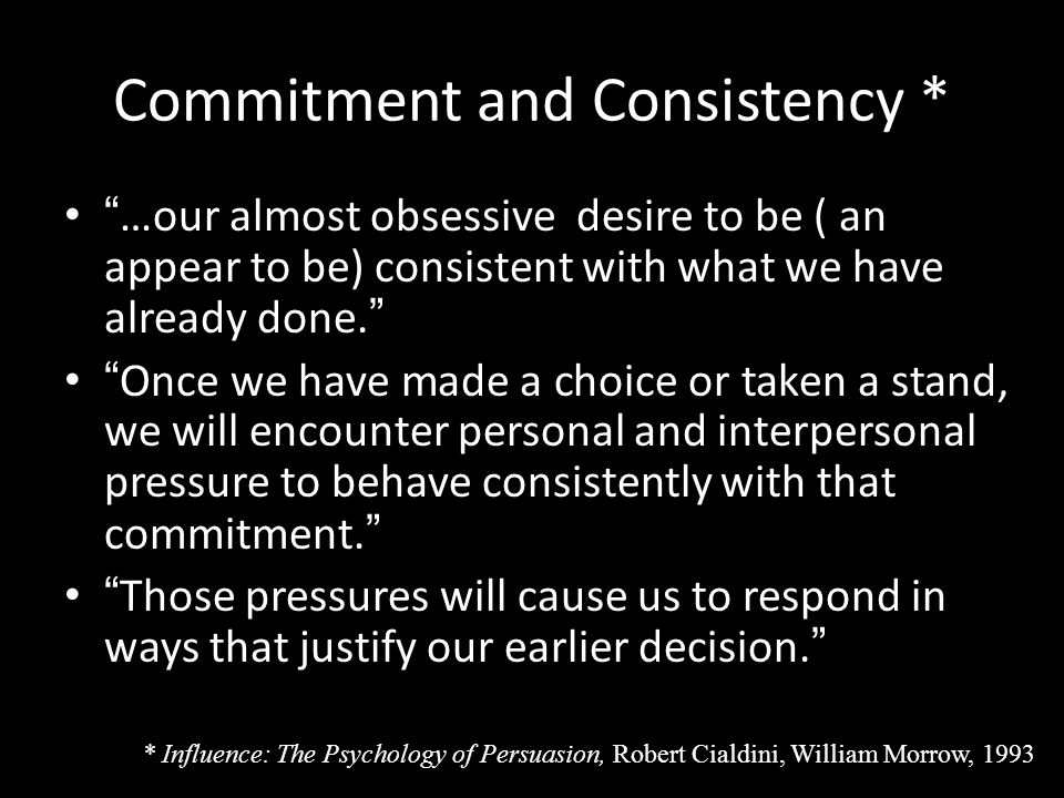 Commitment and Consistency *