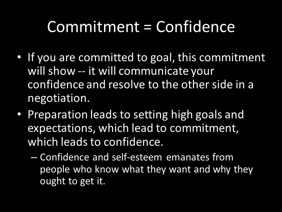 Commitment = Confidence