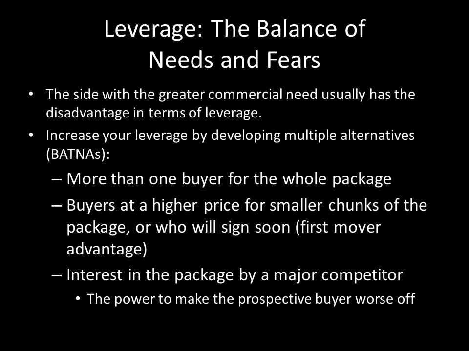 Leverage: The Balance of Needs and Fears