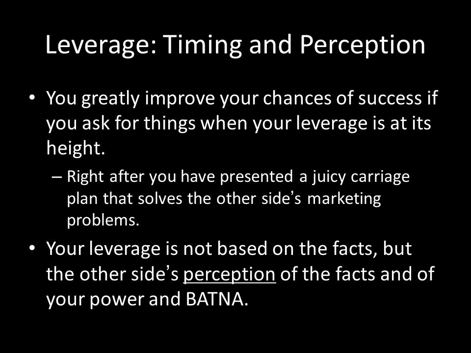 Leverage: Timing and Perception