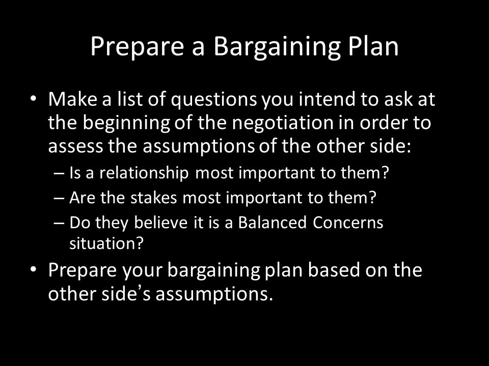 Prepare a Bargaining Plan