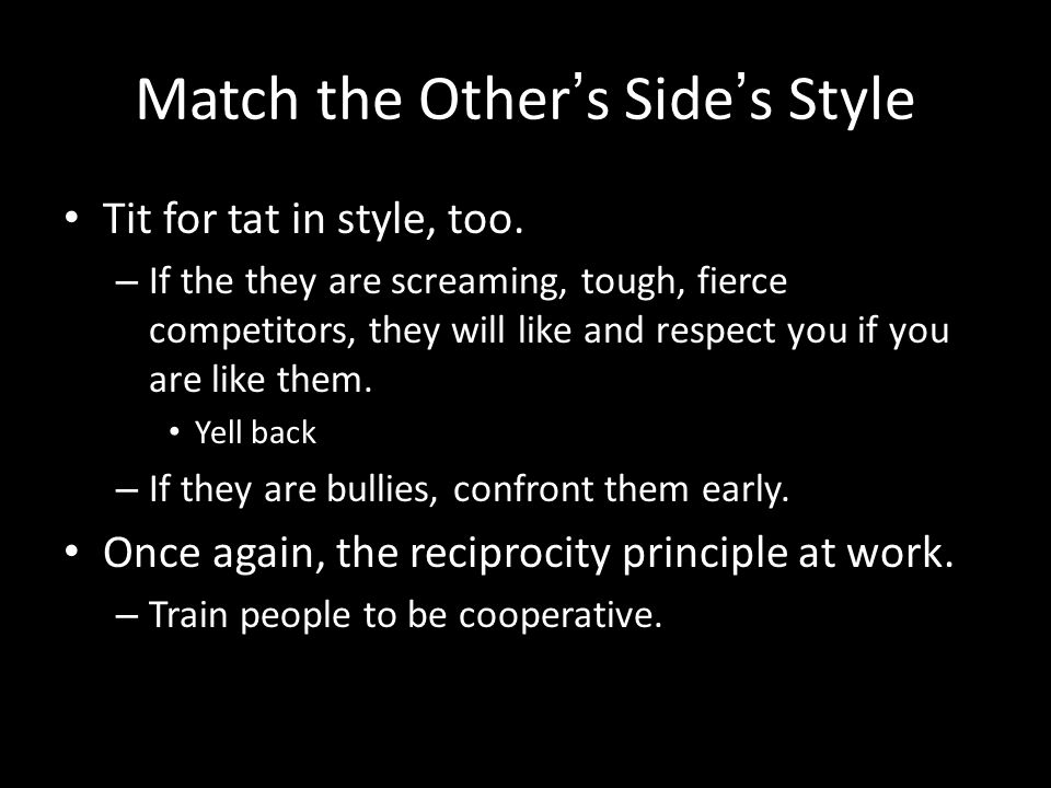Match the Other's Side's Style