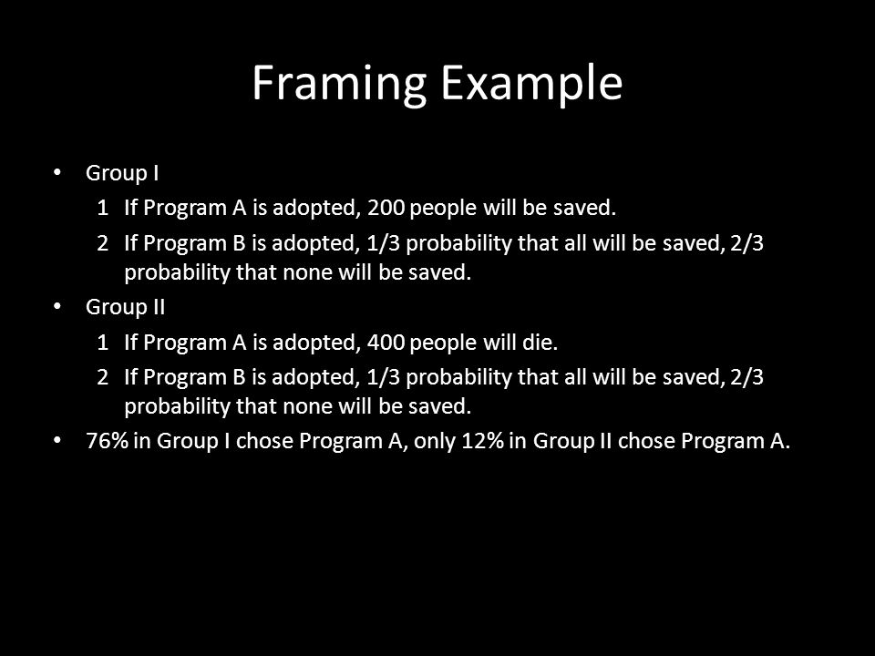 Framing Example Group I
