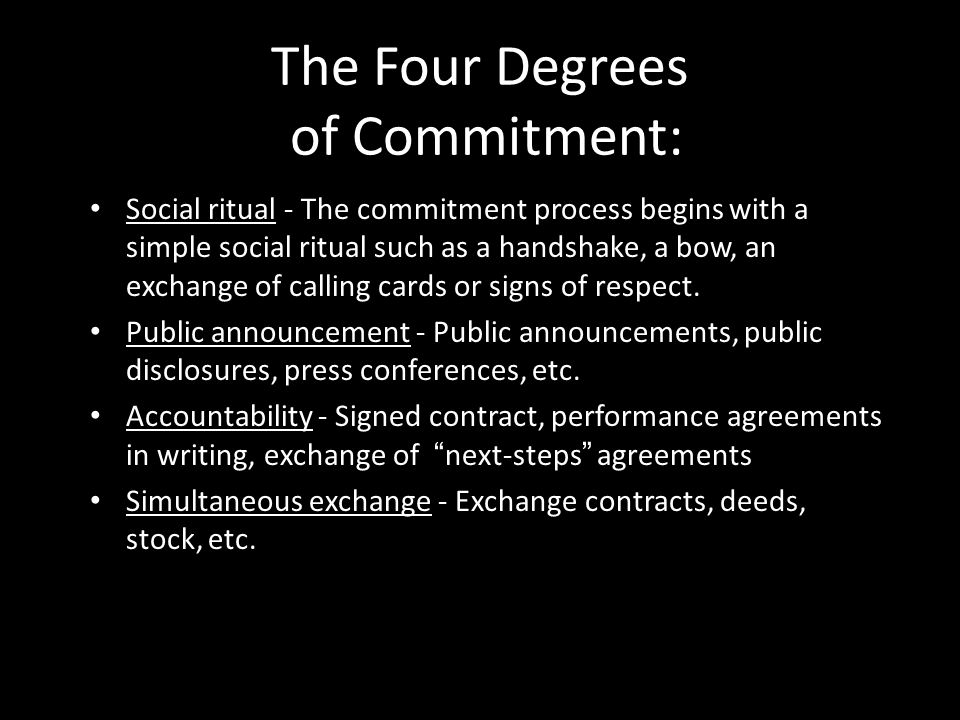 The Four Degrees of Commitment: