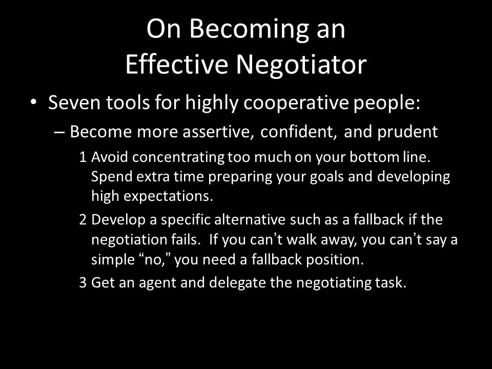 On Becoming an Effective Negotiator