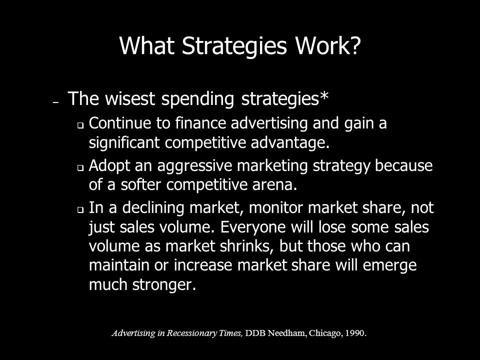 What Strategies Work The wisest spending strategies*