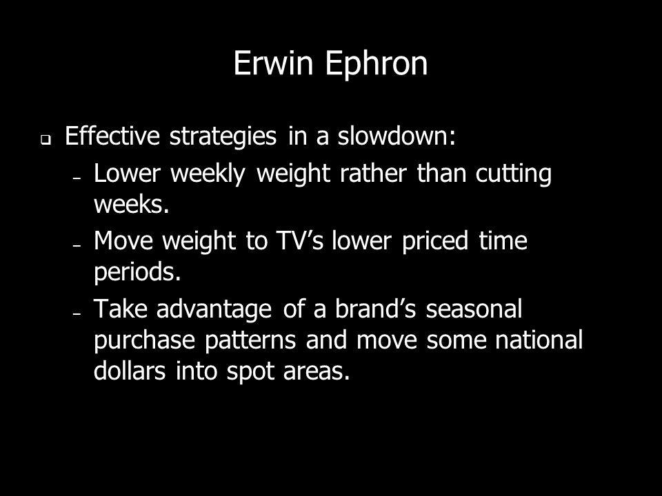 Erwin Ephron Effective strategies in a slowdown: