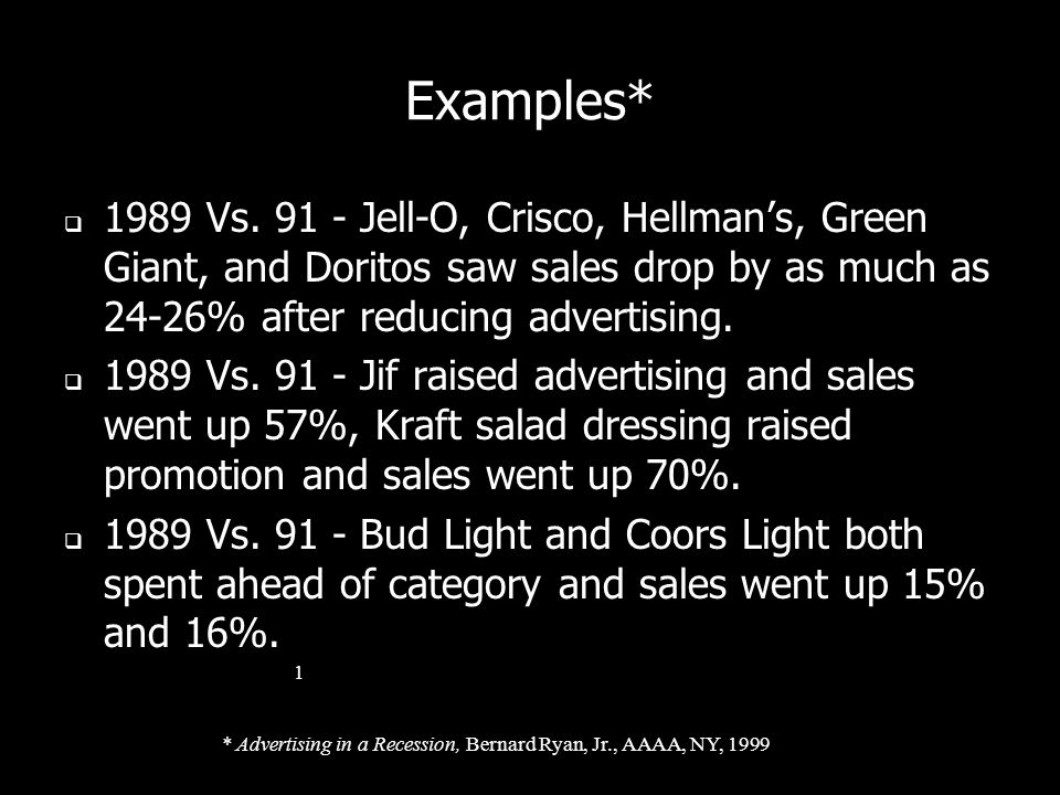Examples* 1989 Vs. 91 - Jell-O, Crisco, Hellman's, Green Giant, and Doritos saw sales drop by as much as 24-26% after reducing advertising.