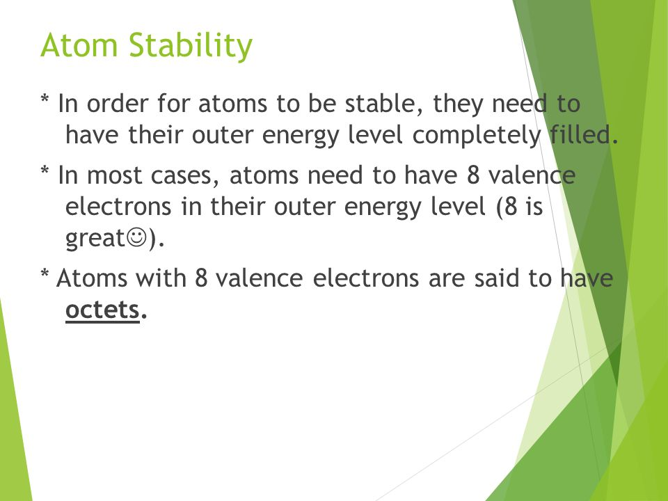 how to tell if an atom is stable