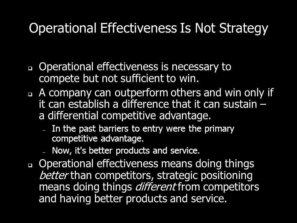 Operational Effectiveness Is Not Strategy