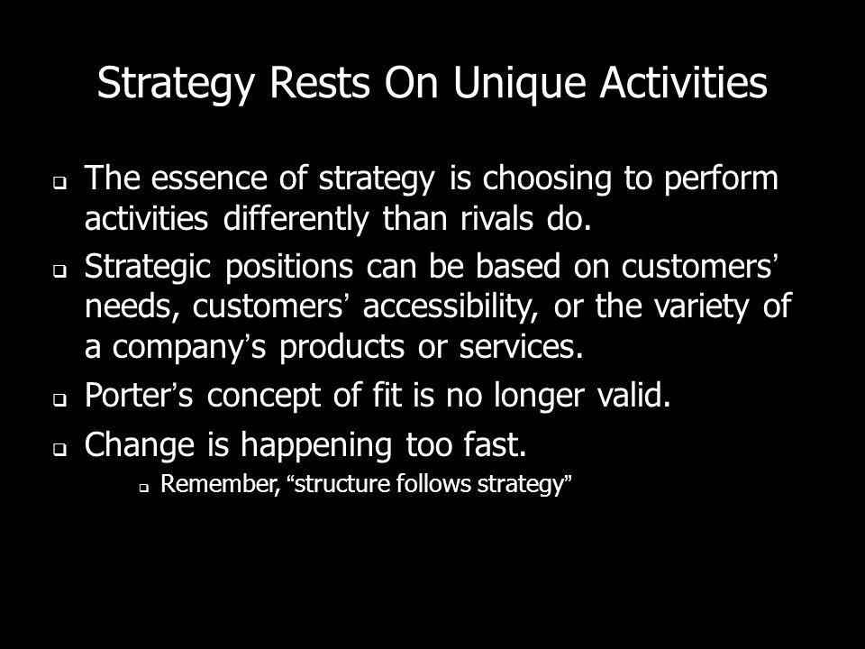 Strategy Rests On Unique Activities